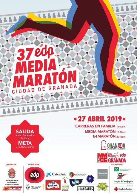 CARTEL 37 edición EDP MEDIA MARATÓN GRANADA 2019